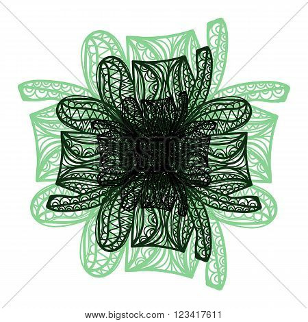 Green And Black Vector Flower