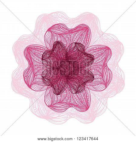 Pink Vector Flower On White