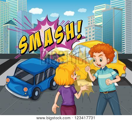 Accident scene with car crash illustration