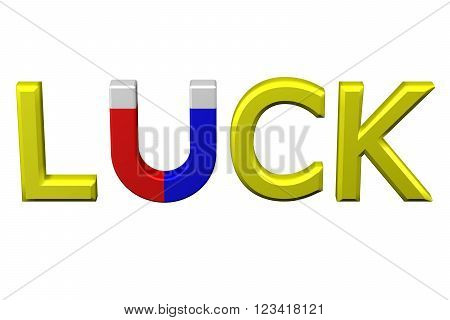 Concept: word luck with U shaped magnet instead letter U , isolated on white background. 3D render.