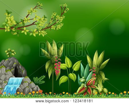 Background design with waterfall and cave illustration