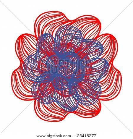 Red And Blue Vector Flower