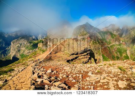 hiking footpath at the Pico do Arieiro surrounding area Madeira Portugal