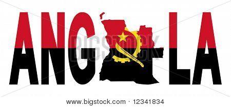 Texto de Angola con el mapa de la ilustración de la bandera JPG