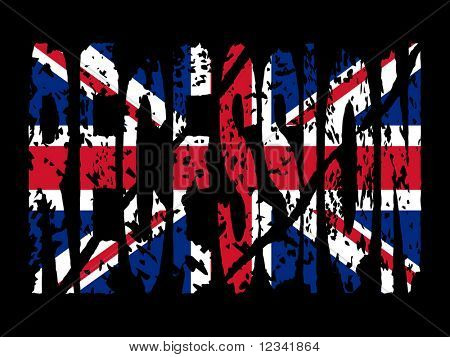 grunge Recession text with British flag illustration