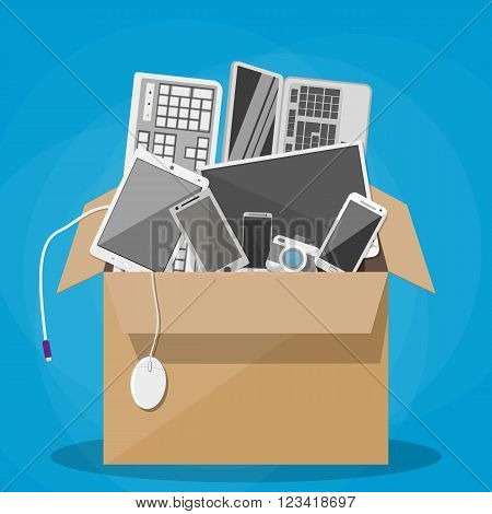 Various modern devices in cardboard box. desktop pc, tablet pc, keyboard, photo camera, mouse, laptop, mobile and smart phones. vector illustration in flat design on blue background. office relocation concept