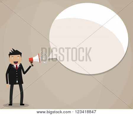 Businessman holding a megaphone, happy manager with bullhorn Vector illustration in flat design on brown background with speech bubble for text