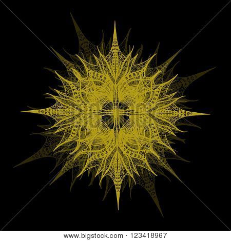 Yellow Vector Flower On Black