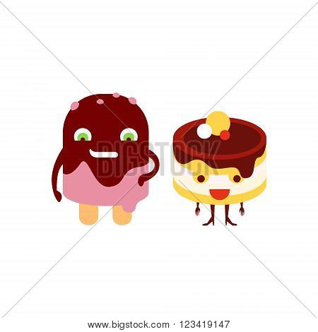 Humanized Eskimo and Cake Funny  Flat Vector Illustration In Cartoon Style Isolated On White Background
