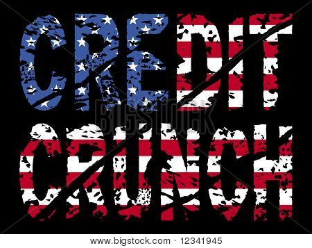grunge Credit crunch text with American flag illustration