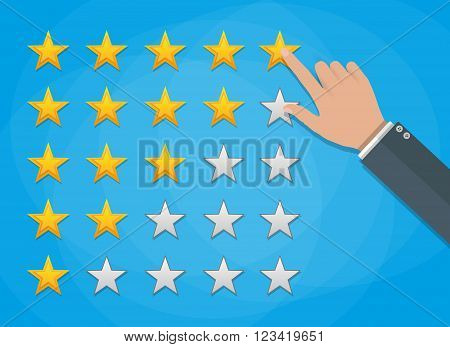 cartoon hand gives a five star arating. voting, user review, feedback concept. vector illustration in flat design on green background