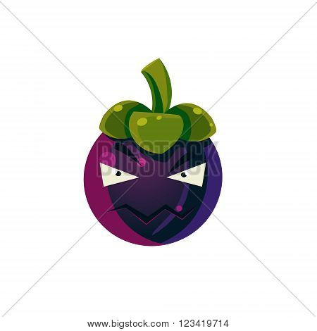Angry Passion Fruit Emoji Flat Vector Illustration In Primitive Cartoon Style Isolated On White Background