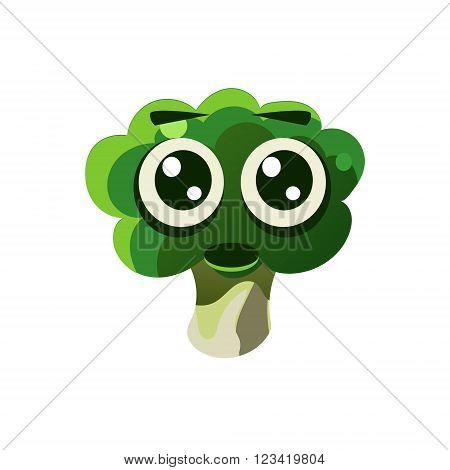 Shocked Broccoli Emoji Flat Vector Illustration In Primitive Cartoon Style Isolated On White Background
