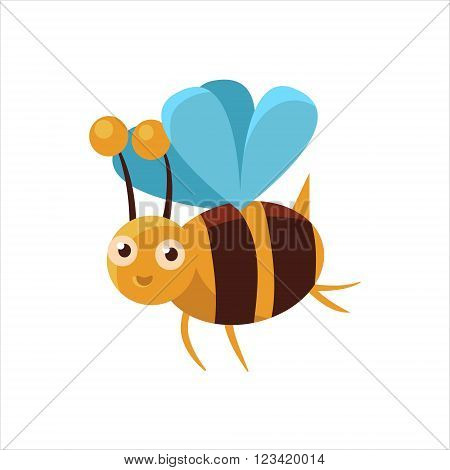 Bee Mid-air Childish Character Isolated Flat Colorful Vector Icon On White Background