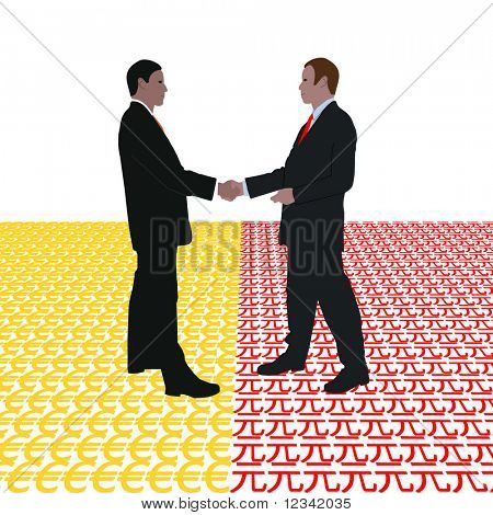 business men meeting with euro and Yuan symbol illustration