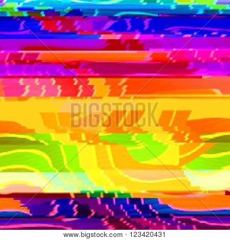 Bright background with bright stripes in style glitch- art. Vector illustration.