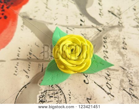 Pretty yellow rose macro handmade rubber eva