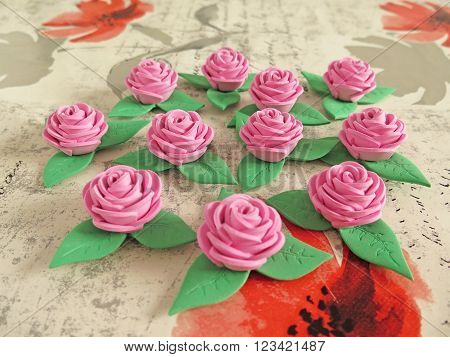 macro pink roses beautiful handmade rubber eva