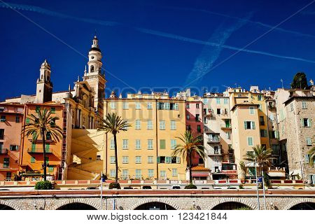 Cote d'Azur France Mentonview of the old town