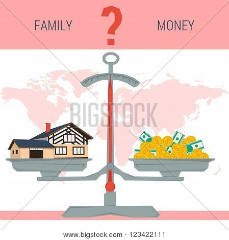 Vector infographic value of family, home. Scales with house and pile of money.