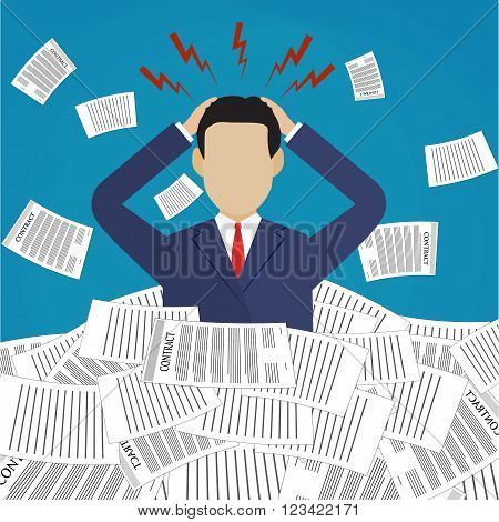 Stressed cartoon businessman in pile of office papers and documents. Stress at work. Overworked. Vector illustration in flat design on blue background.