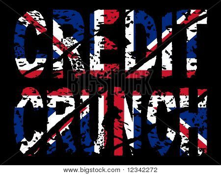 grunge Credit crunch text with British flag illustration