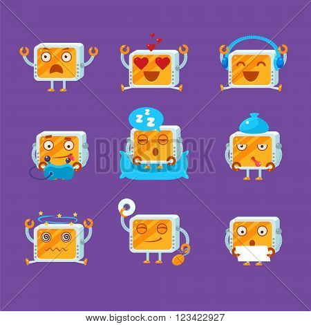 Small Robot Emoji Set Flat Vector Cartoon Style Funny Drawing On Violet Background