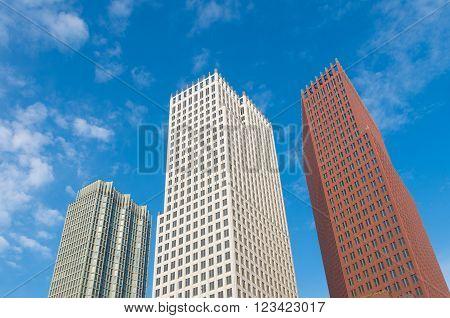 THE HAGUE NETHERLANDS - OCTOBER 3 2015: Modern skyscrapers in the city center of The Hague. The Dutch government and parliament are located in the city and it is the residence of the royal family