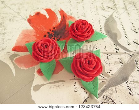 macro red roses beautiful handmade rubber eva