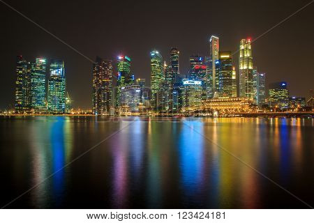 SINGAPORE - March 17: Singapore Skyline and view of Marina Bay