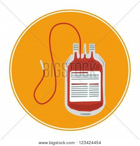 Vector Blood Bag Icon isolated on white. Blood transfusion icon.
