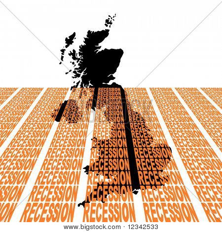 uk map sinking into recession text illustration