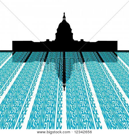 Capitol Building with washington DC text foreground illustration