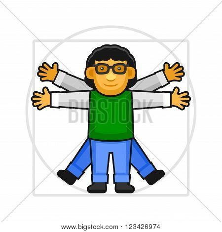 Leonardo da Vinci Vitruvian Man Sign Logo. Hipster Style Icon. Vector Illustration