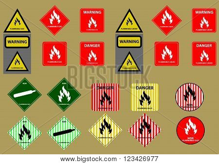 set of flammable liquid gas solid fuel sign vector illustration