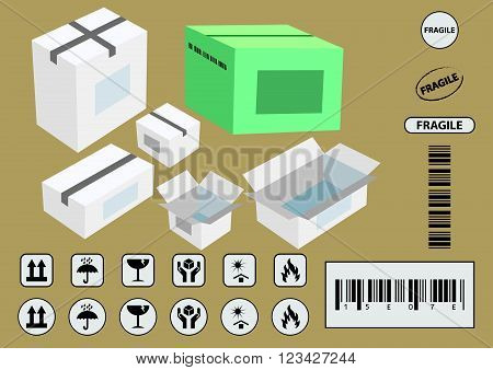 set of packaging symbols (this side up, handle with care, fragile, keep dry, keep away from direct sunlight, flammable, bar code,  recyclable) vector illustration