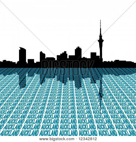 Auckland skyline with city text perspective illustration