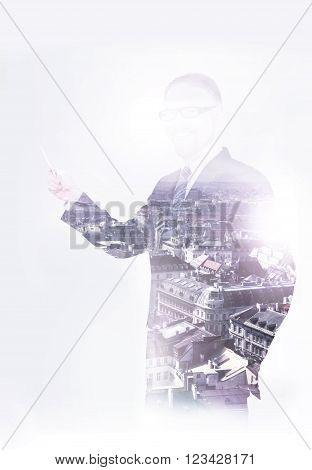 A Cityline and Businessman Double Exposure Image