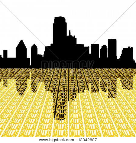 Dallas skyline with city text perspective illustration