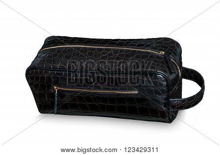 Exotic element alligator leather hand bag skin in back color