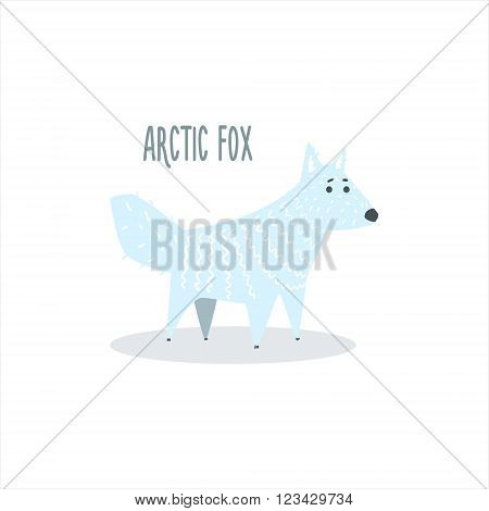 Arctic Fox Drawing For Arctic Animals Collection Of Flat Vector Illustration In Creative Style On White Background