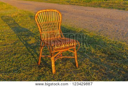 Wicker chair is waiting for the holiday-maker