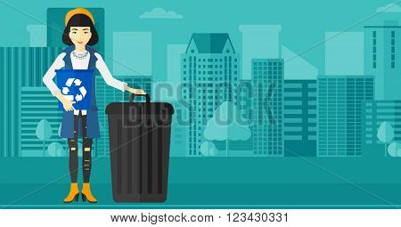 Woman with recycle bins.