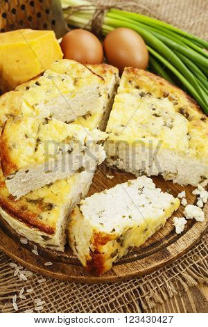 Rice Pie With Cottage Cheese