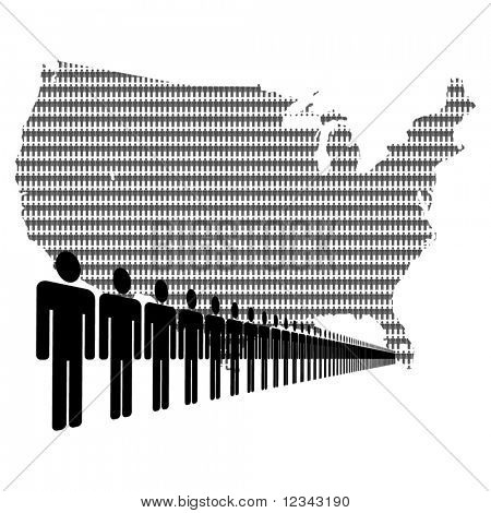 Map of USA made of people with line of men