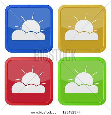 set of four colored square icons with partly cloudy