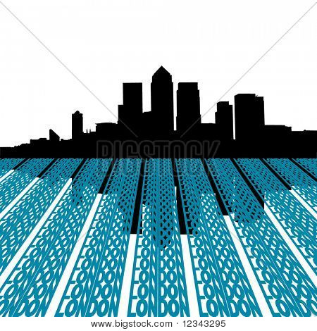 Docklands skyline with London text illustration
