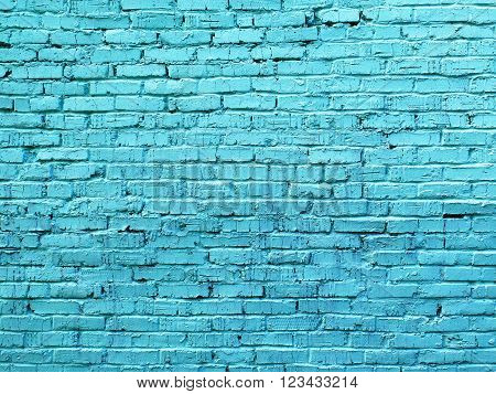 Painted in a light blue old brickwork