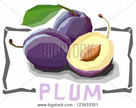 Vector simple illustration of plums with half in angular cartoon style.