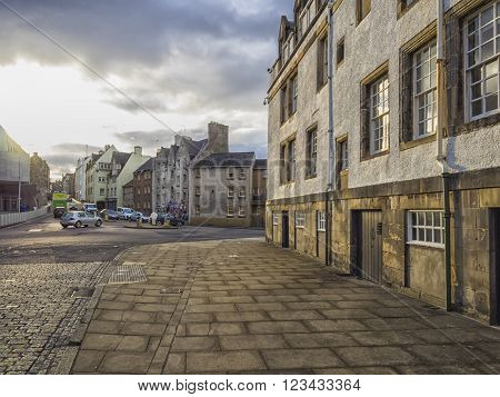 EDINBURGH, SCOTLAND - MARCH 5: Buildings of Royal Mile in Edinburgh at sunset at March 5, 2016